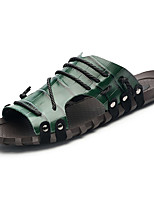 Men's Slippers & Flip-Flops Comfort Light Soles PU Summer Casual Comfort Light Soles Flat Heel Burgundy Blue Green White Flat