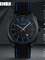 SKMEI Муж. Нарядные часы Модные часы Японский Кварцевый Календарь Защита от влаги Натуральная кожа Группа Cool Повседневная Черный Хаки