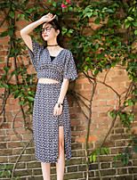 Women's Daily Casual Contemporary Summer T-shirt Skirt Suits,Geometric Pattern V Neck Short Sleeve