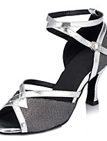 Women's Latin Glitter Sandals Performance Criss-Cross Stiletto Heel Silver/Black 3