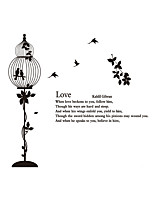 Wall Stickers Wall Decas Style Bird Cage Love PVC Wall Stickers