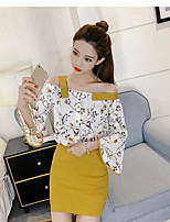 Women's Going out Casual/Daily Work Casual Casual/Daily Birthday Summer Blouse Skirt Suits,Floral Off Shoulder Long Sleeve Chiffon