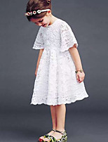 Girl's Solid Dress,Cotton Others Summer Short Sleeve