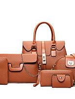 Women Bag Sets PU All Seasons Casual Shopper Zipper Purple Blushing Pink Red Black Blue