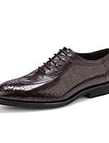 Для мужчин Свадебная обувь Формальная обувь Кожа Весна Осень Свадьба Для вечеринки / ужина Формальная обувь Черный КофейныйНа плоской