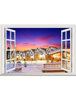 Wall Stickers Wall Decals Village Night View of Snow PVC Wall Stickers