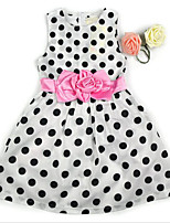 Girl's Polka Dot Floral Dress,Cotton Summer Sleeveless