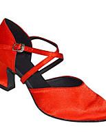 Women's Latin Silk Sandals Performance Criss-Cross Cuban Heel Almond Ruby Black 2