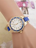 Жен. Модные часы Наручные часы Кварцевый Стразы сплав Plastic Группа Повседневная Черный Белый Синий Красный Розовый Роуз