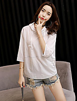 Women's Daily Casual Hoodie Solid Hooded Micro-elastic Cotton 3/4 Length Sleeve Summer
