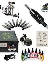 Basekey High Born Tattoo Kit H015-A4 1 Machine With 7 Inks Power Supply 10PCS Needles
