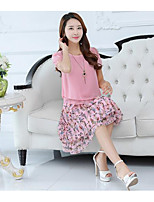 Women's Daily Casual Casual Summer Blouse Skirt Suits,Solid Floral Round Neck Short Sleeve Micro-elastic