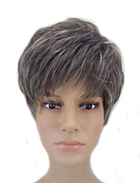 Capless Grey Mixed Highlights Short Straight Natrural Synthetic Pixie Hair Wig  High Temperature Fiber