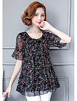 Women's Casual/Daily Simple Blouse,Polka Dot Print Round Neck Short Sleeve Cotton