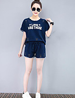 Women's Casual/Daily Casual Summer T-shirt Pant Suits,Solid Quotes & Sayings Round Neck Short Sleeve Micro-elastic