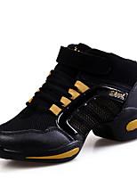 Women's Dance Sneakers Tulle Sneakers Outdoor Splicing Flat Heel Black/Red Black/Gold Fuchsia 1