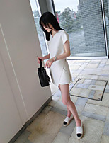Women's Daily Casual Casual Summer T-shirt Dress Suits,Solid Round Neck Short Sleeve Micro-elastic