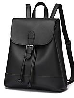 Women Backpack PU All Seasons Casual Sports Outdoor Barrel Zipper Wine Black