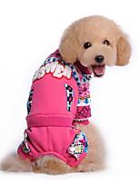 Собака Толстовка Одежда для собак На каждый день В снежинку Синий Розовый