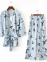 Mujer Chic de Calle Noche Casual/Diario Primavera Verano Otoño Camisas Pantalón Trajes,Escote en Pico Estampado Manga Tres Cuartos