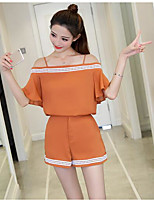 Women's Daily Casual Casual Summer T-shirt Pant Suits,Solid Bateau 1/2 Length Sleeve Micro-elastic