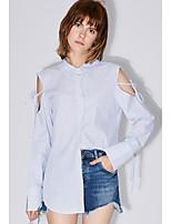 AMIIWomen's Daily Casual Simple ShirtStriped Shirt Collar Long Sleeve Cotton