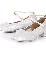 Women's Latin Paillette PU Heels Practice Silver Gold