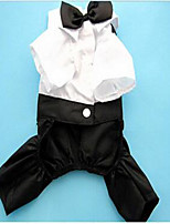 Dog Coat Tuxedo Dog Clothes Casual/Daily Cosplay Wedding Solid Black
