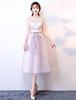 Coquetel Vestido Linha A Decote em U Longuette Tule com