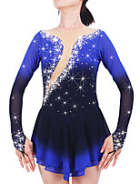 Ice Skating Dress Women's Girls' Long Sleeve Skating Skirts & Dresses Dresses High Elasticity Figure Skating Dress Keep WarmSpandex