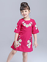 Girl's Floral Jacquard Dress,Cotton Spring Summer ¾ Sleeve