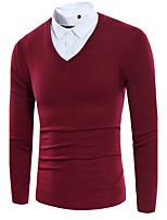 Men's Casual/Daily Long Pullover,Animal Print Round Neck Long Sleeve Cotton Fall Winter Medium Micro-elastic