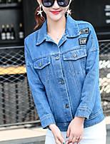 Women's Daily Modern/Comtemporary Spring Denim Jacket,Print Shirt Collar Long Sleeve Regular Cotton Others