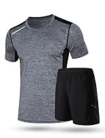 Men's Running T-Shirt Short Sleeves Quick Dry Running Clothing Suits for Running/Jogging Exercise & Fitness Loose Black+Gray