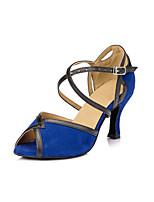 Women's Latin Faux Suede Heels Indoor Chunky Heel Blue 2