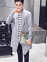 Lungo Cardigan Da uomo-Casual Tinta unita Bavero sciallato Manica lunga Cotone Primavera Medio spessore Media elasticità