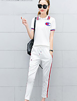 Women's Daily Casual Casual Summer T-shirt Pant Suits,Solid Striped Print Stand Short Sleeve Micro-elastic
