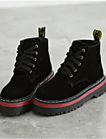 Women's Boots Comfort PU Spring Casual Black Almond 1in-1 3/4in