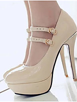 Women's Heels Comfort Nubuck leather PU Spring Fall Casual Comfort Ruby Beige Black 4in-4 3/4in