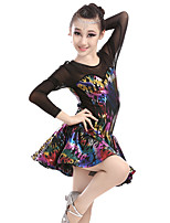 Latin Dance Dresses Women's Performance Spandex Tulle Pattern/Print 1 Piece Long Sleeve High Dresses