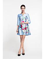Для женщин Для вечеринок На выход Винтаж Уличный стиль Шинуазери (китайский стиль) А-силуэт Оболочка Платье С принтом,V-образный вырез