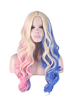 Cosplay Wig Suicide squad Harleen Quinzel Wigs for Women Blue/Pink Curly Costume Wigs