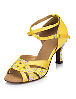 Women's Latin Satin Heels Indoor Rhinestone Chunky Heel Yellow 3