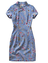 Une Pièce/Robes Lolita Classique/Traditionnelle Rétro Cosplay Vêtrements Lolita Rétro Imprimé Sans Manches Cheongsam Pour Lin Coton