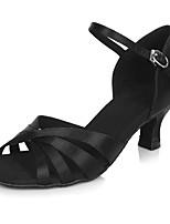 Для женщин Латина Сатин Сандалии На каблуках Для закрытой площадки С пряжкой Ротанг На шпильке Черный 5 - 6,8 см Персонализируемая