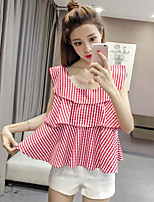 Women's Casual/Daily Sexy Blouse,Striped Round Neck Sleeveless Cotton