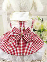 Dog Dress Dog Clothes Casual/Daily Plaid/Check Red Blue Blushing Pink
