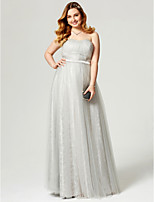 A-Line Strapless Floor Length Lace Tulle Formal Evening Dress with Sash / Ribbon Side Draping Pleats by TS Couture®