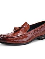 Для мужчин Свадебная обувь Формальная обувь Кожа Весна Осень Повседневные Для вечеринки / ужина Формальная обувь Черный Коричневый Вино
