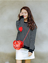 Women's Going out Casual/Daily Cute Regular Pullover,Striped Round Neck Long Sleeve Others Fall Medium Micro-elastic